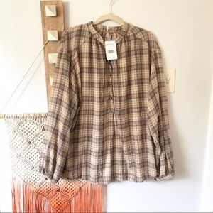 New Free People Beige Northern Bound Plaid Shirt